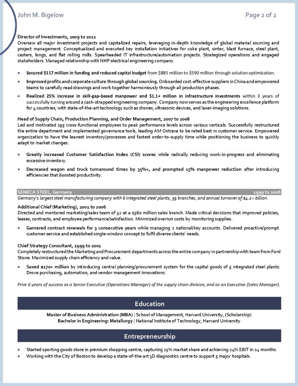 Coo Global Operations Pg 2 Resume Services Executive Resume Resume Examples