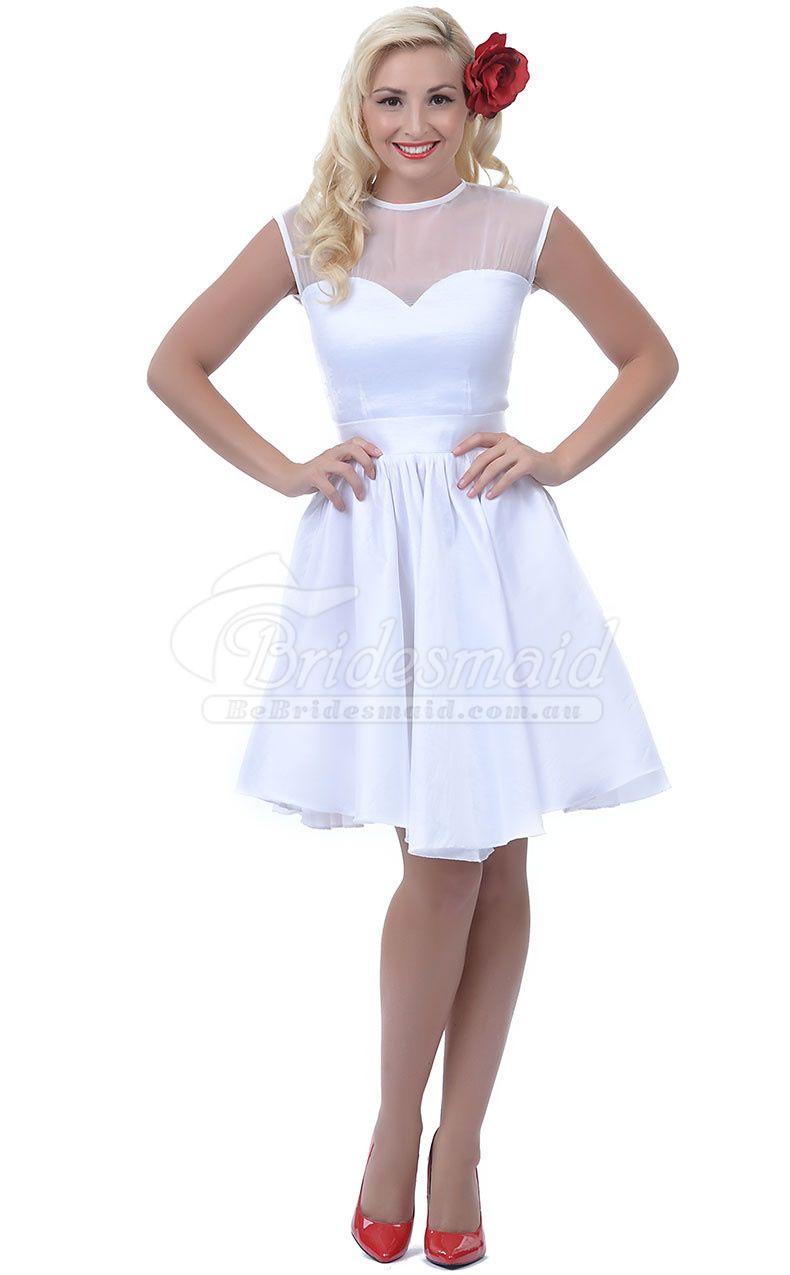 Vantage beautiful pretty a line satin mini short bridesmaid dress