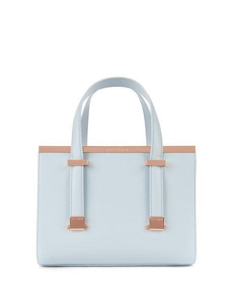 cf078e96b Leather metal bar tote bag - Light Blue
