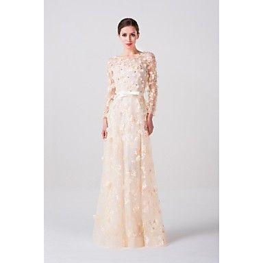 A-line Floor-length Wedding Dress -Scoop Lace – USD $ 179.99