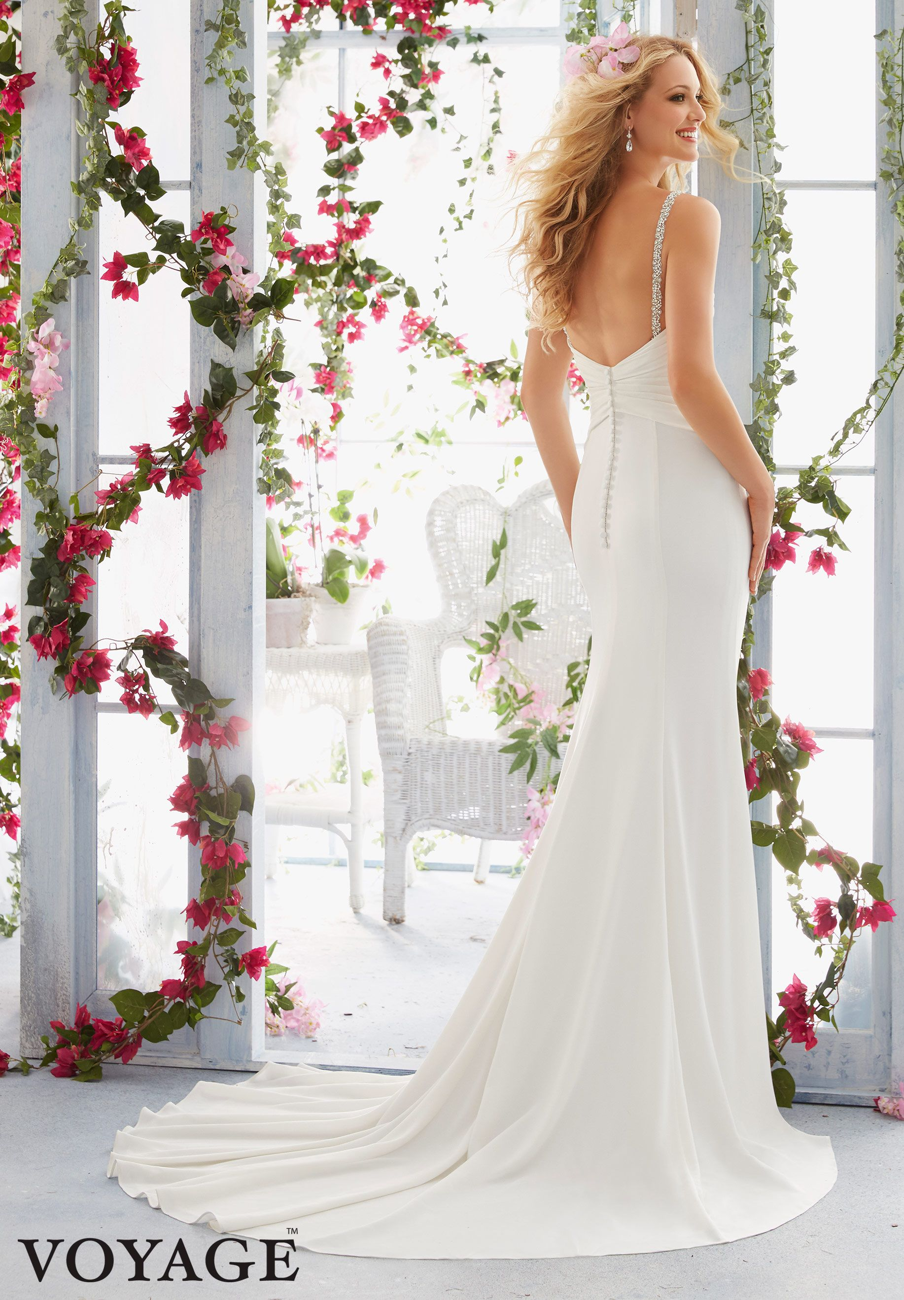 Wedding Dress 6815 Crystal Beaded Straps Support the