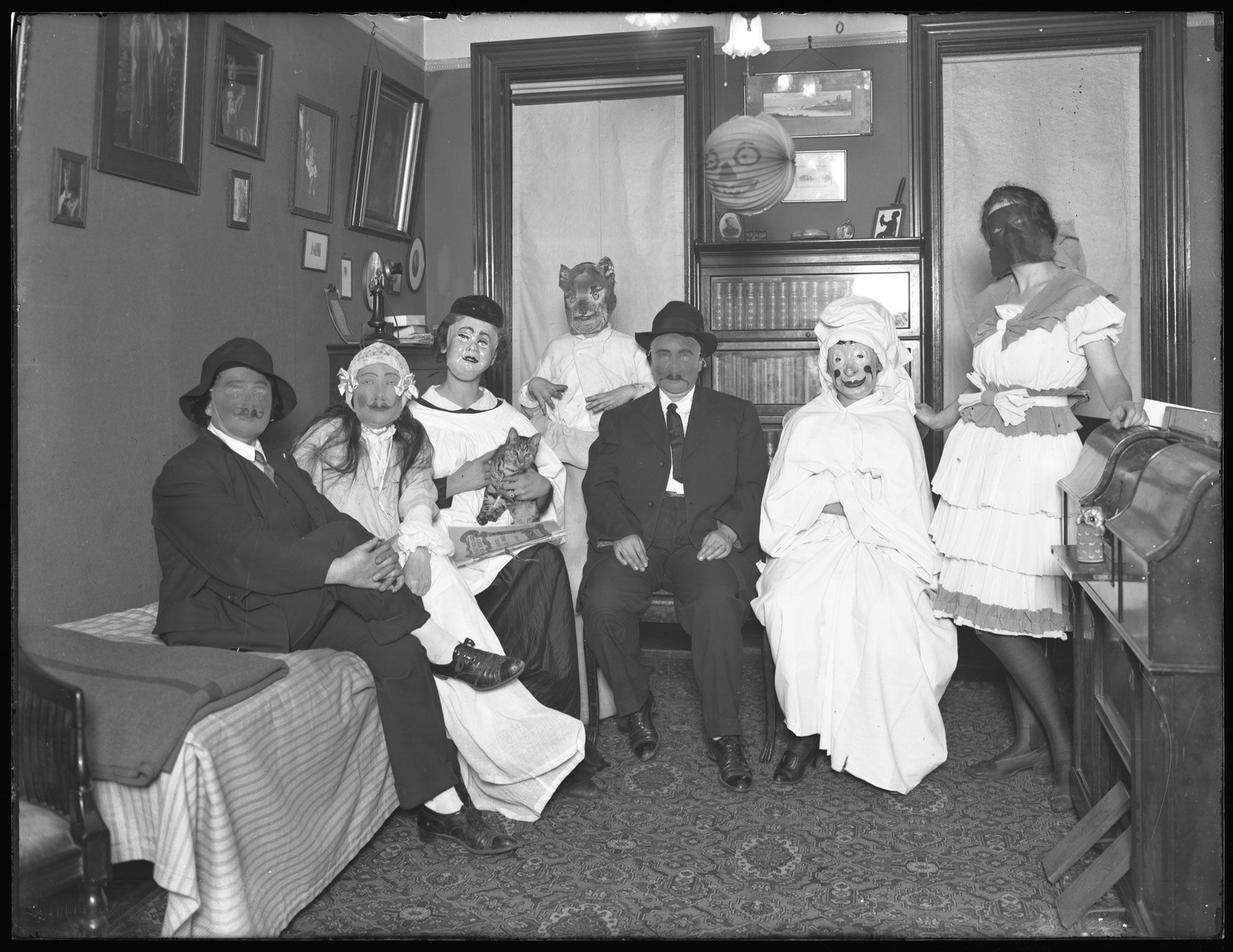 Unidentified group of people in Halloween costumes October 31 1916. Photographed for Mrs. Reiser by William Davis Hassler. PR 083 New-York Historical ...  sc 1 st  Pinterest & Unidentified group of people in Halloween costumes October 31 1916 ...