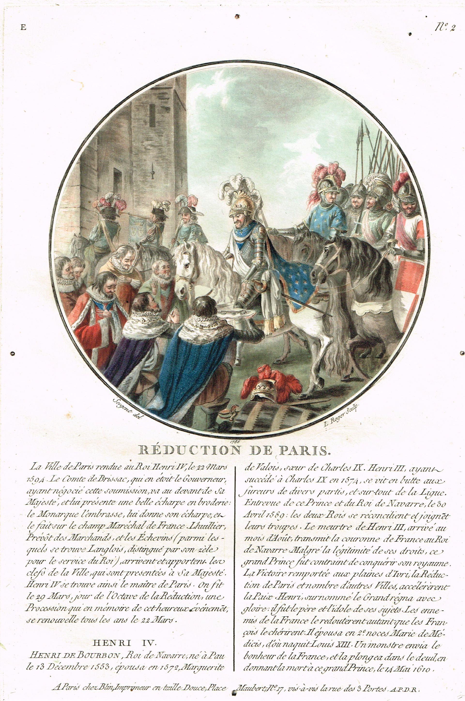 Réduction de Paris - gravé par L. Roger en 1786 d'après Sergent - série E n°2 - MAS Estampes Anciennes - Antique Prints