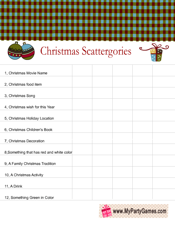 image about Scattergories Answer Sheets Printable titled Xmas Scattergories Playing cards Xmas Playing cards
