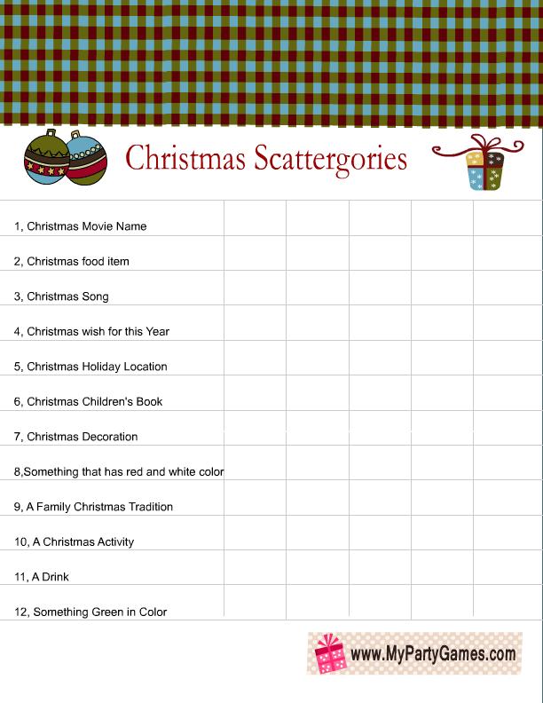 Free Printable Christmas Scattergories Categories List 2