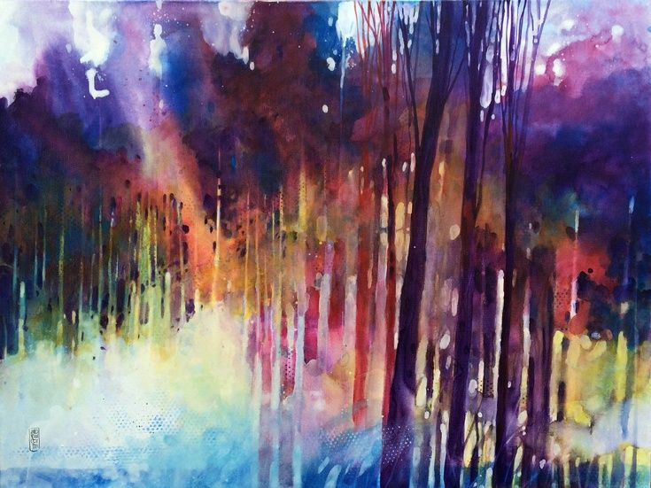 Lampi di luce nella foresta by Alessandro Andreuccetti | Artfinder #Rainbow #Art #Forest #Painting
