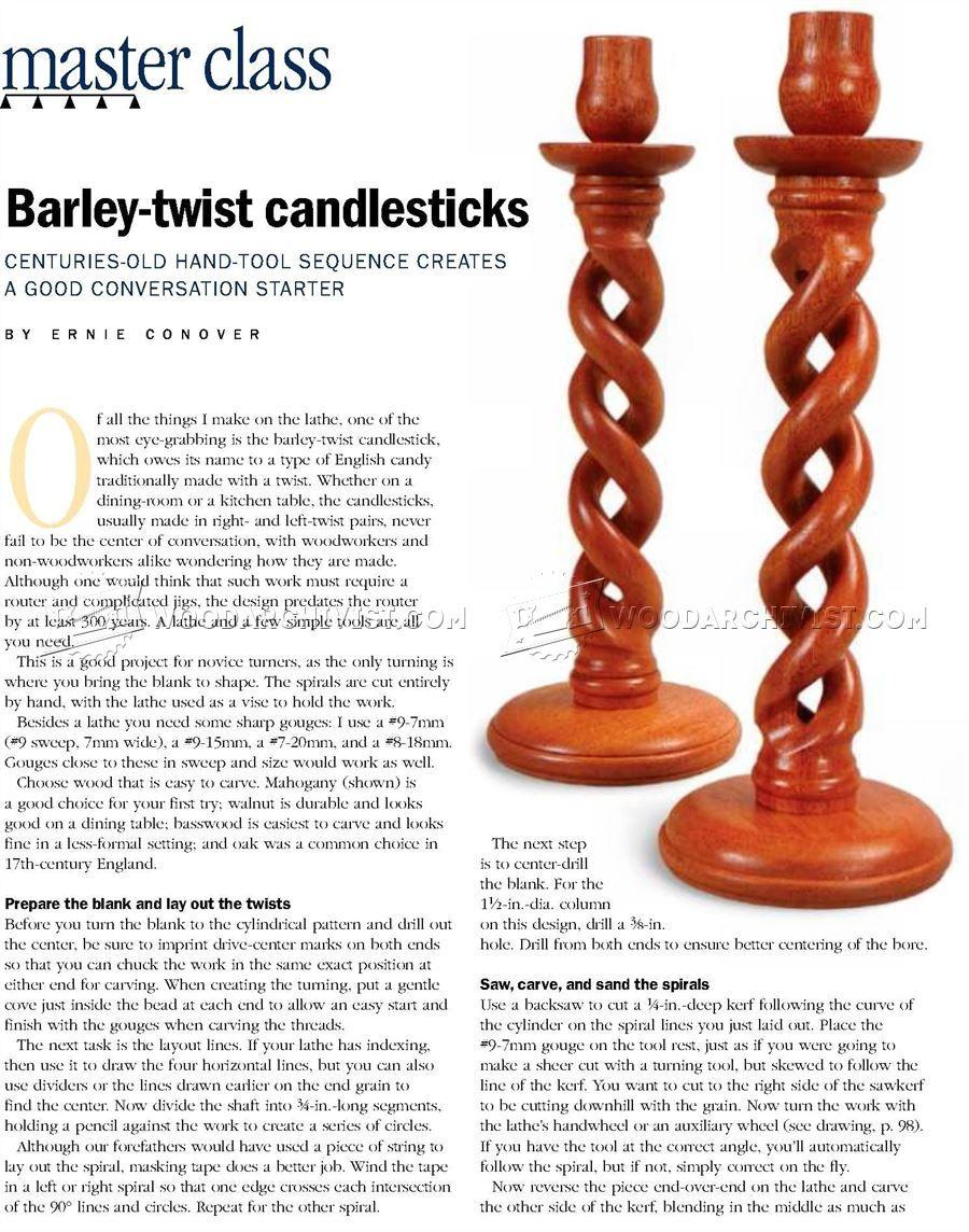 #1988 Woodturning Barley Twist Candlestick - Woodturning