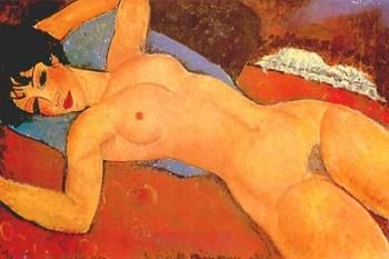 Reclining Nude on a Blue Cushion - Amedeo Modigliani - The Athenaeum