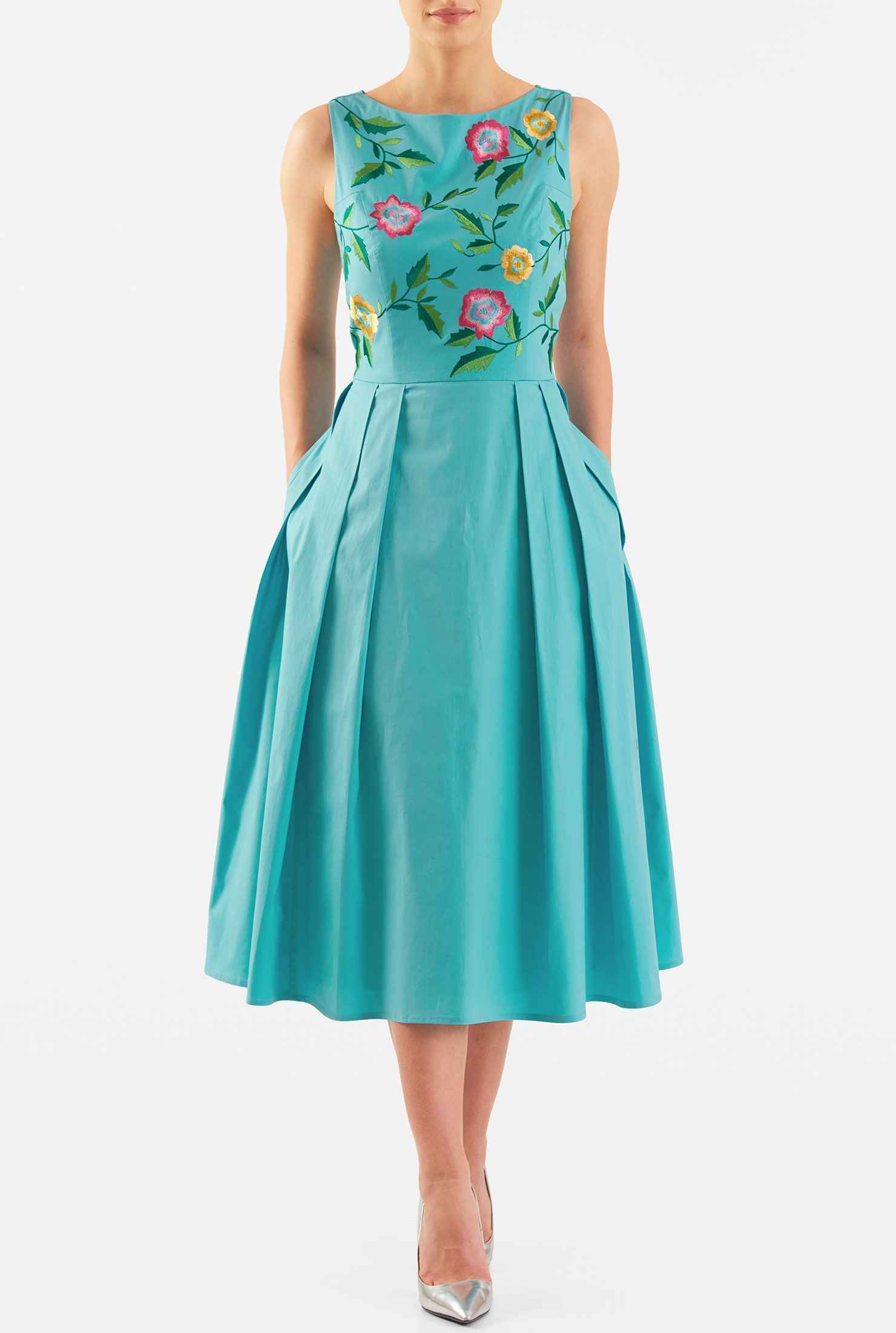 e205f0df9c0956 eshakti--Vibrant embellished florals amp up the sweet charm of our stretch  cotton poplin dress in a flattering fit-and-flare style.