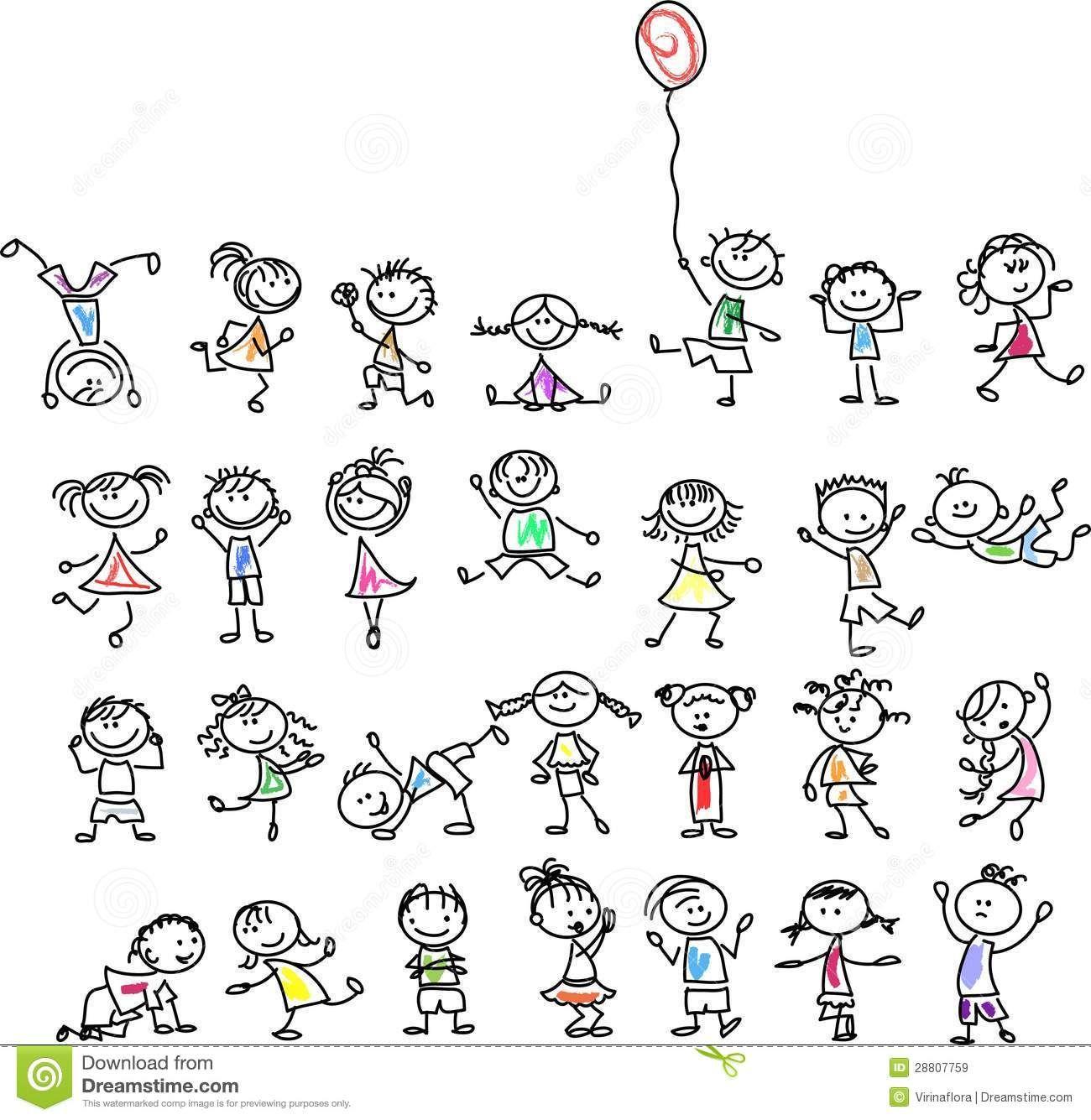 Bambini Felici Svegli Del Fumetto Immagini Stock Libere da