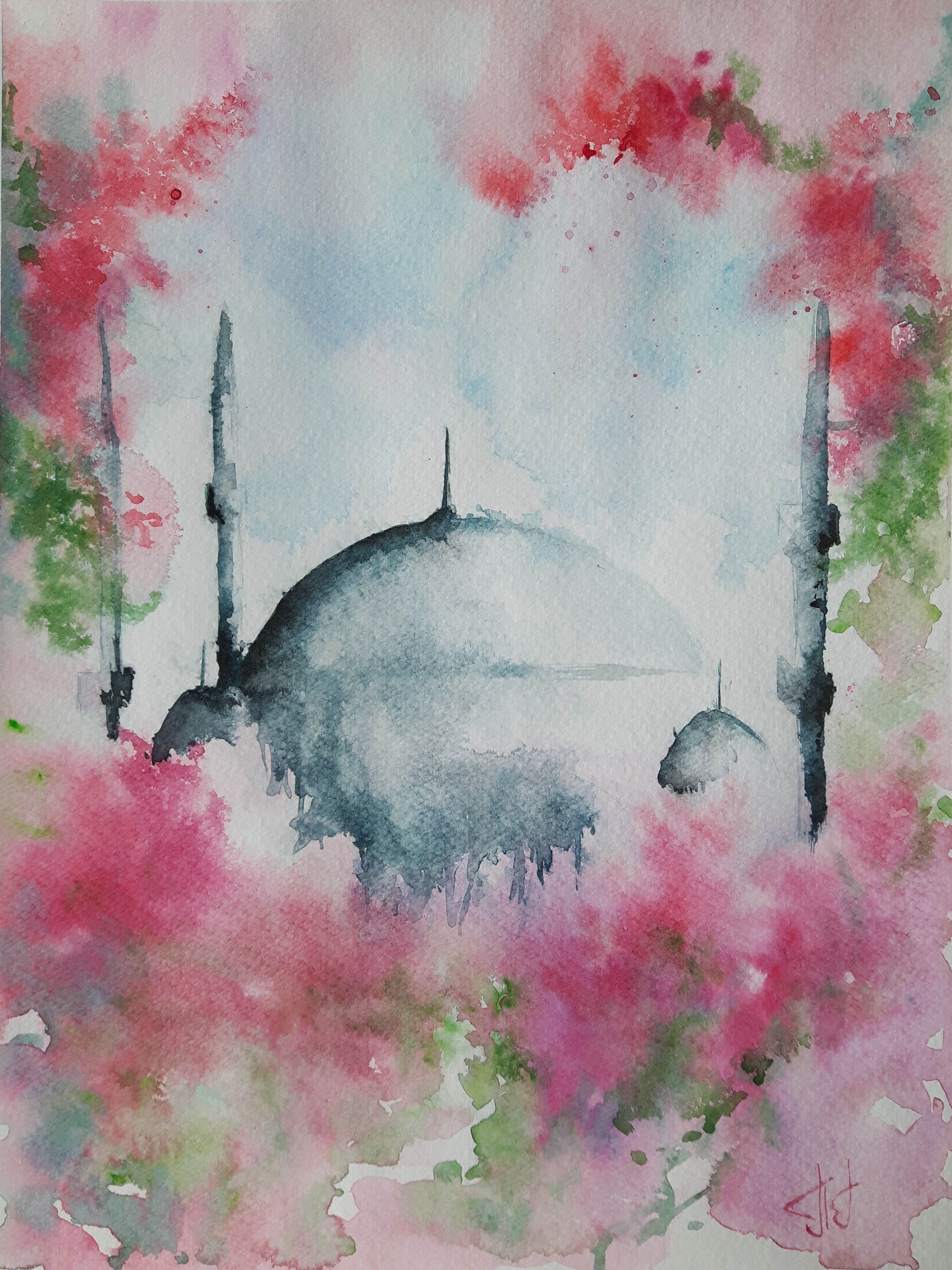 Original Watercolor Painting Titled Mosque 23 Cm X 31 Cm