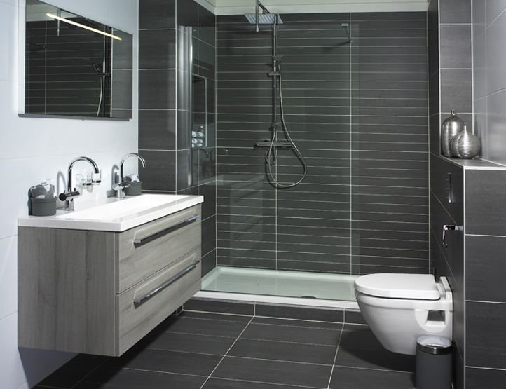 Great Matte Black Tiled Shower (would Also Tile Shower Floor)