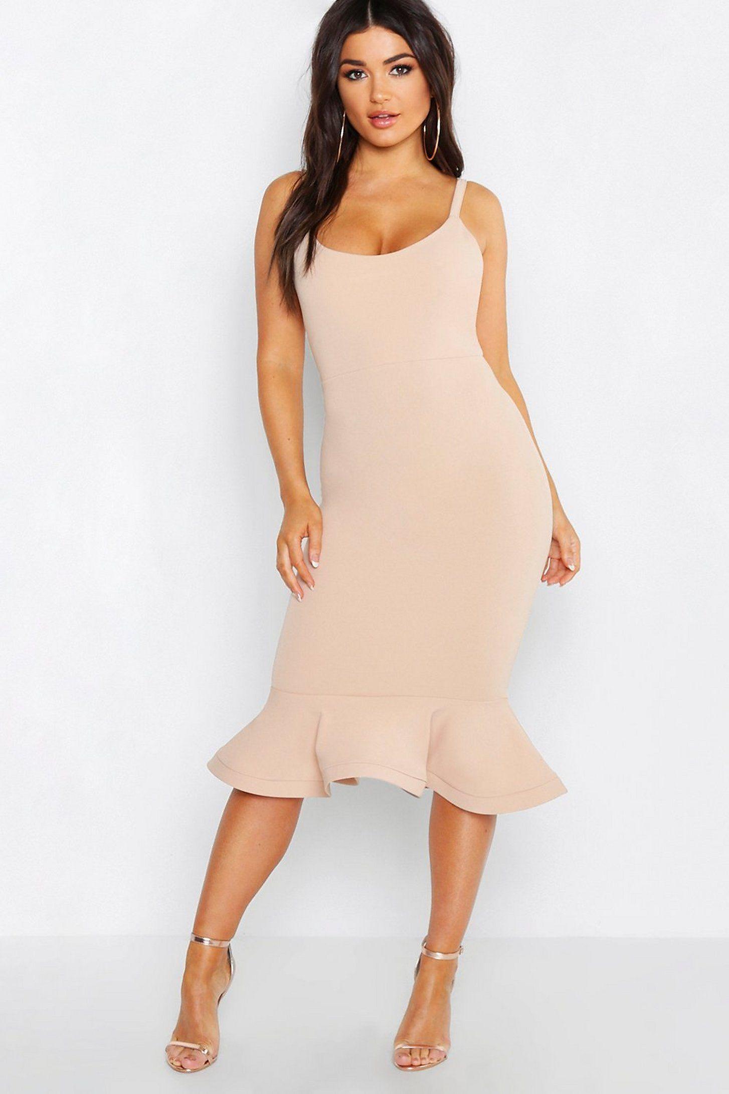 Peplum Frill Hem Strappy Midi Dress Boohoo [ 2181 x 1454 Pixel ]
