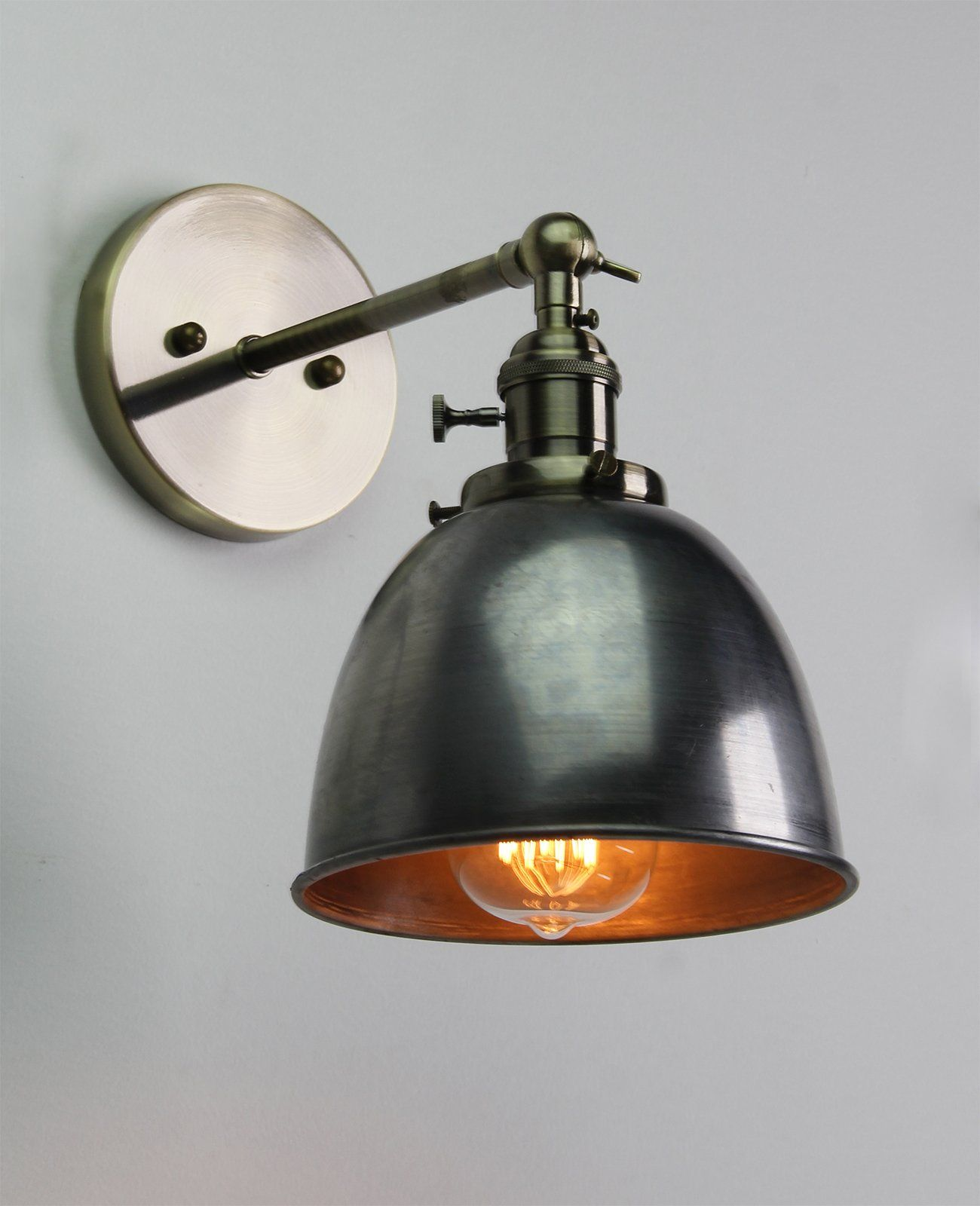 Details about VINTAGE ANTIQUE INDUSTRIAL BOWL SCONCE LOFT WALL