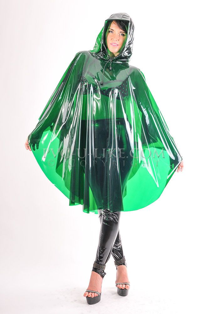PVC Raincoat Plastic Cape Poncho PVC regenmantel Vinyl Slicker