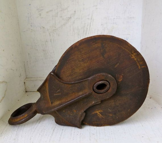 Vintage Pulley Cast Iron Wood Pulley Industrial Decor