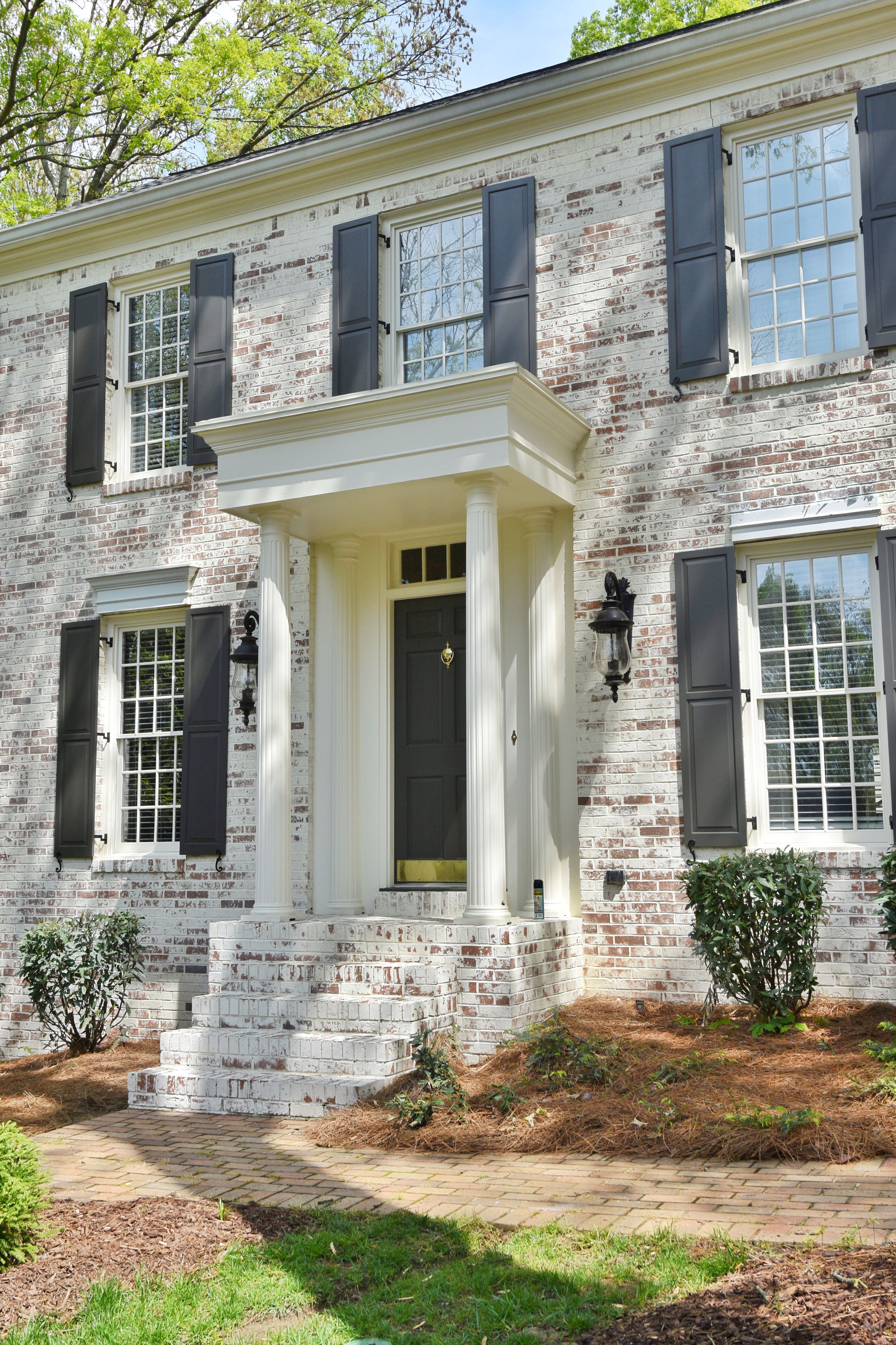 Lime Washed Brick Exterior Application By Struttura Llc Www Struttura Us Brick Exterior House Home Exterior Makeover Colonial House Exteriors