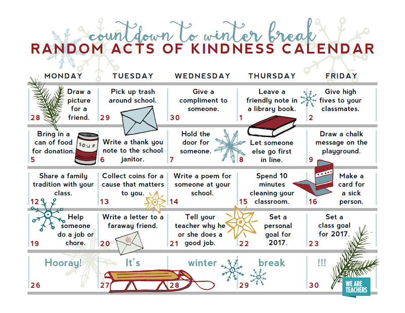 Have your students complete these random acts of kindness