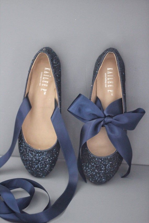 NAVY BLUE ROCK Glitter flats with satin bow tie  - Women Gold Wedding Shoes - Bridal Shoes, Bridesmaids Shoes, Party Shoes, Something Blue