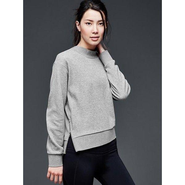 Gap Women Gapfit Side Zip Ponte Sweatshirt (330 DKK) ❤ liked on ...