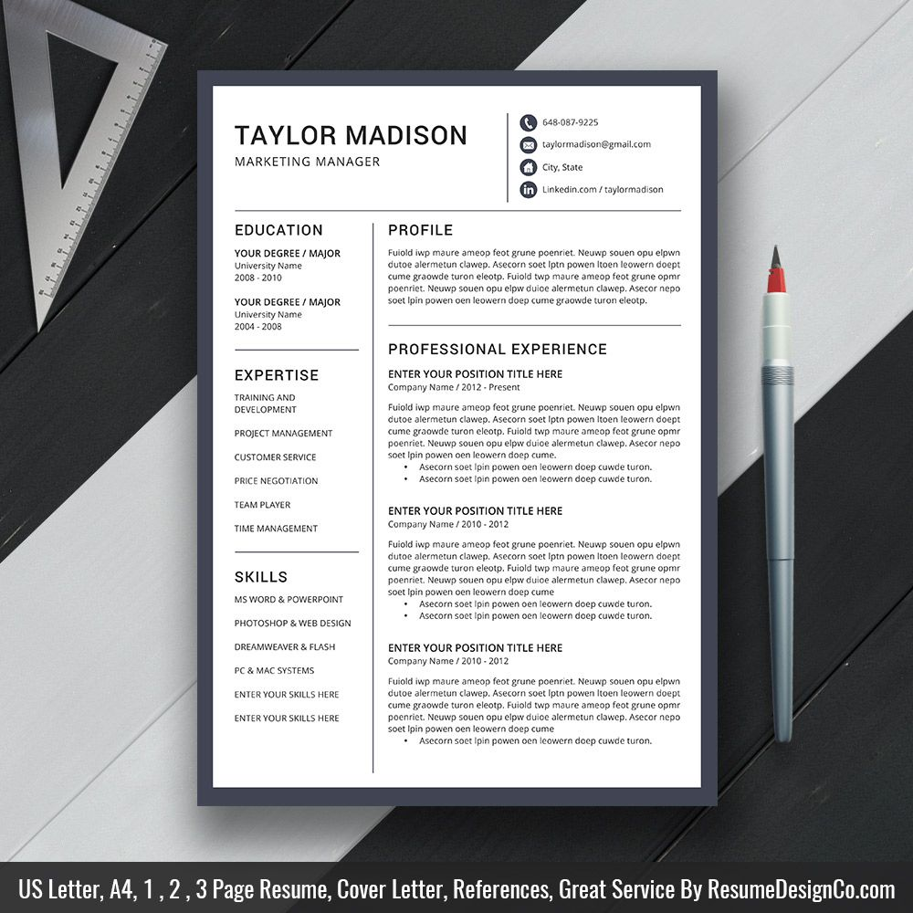 Professional Resume Template MS Word, Modern CV Template