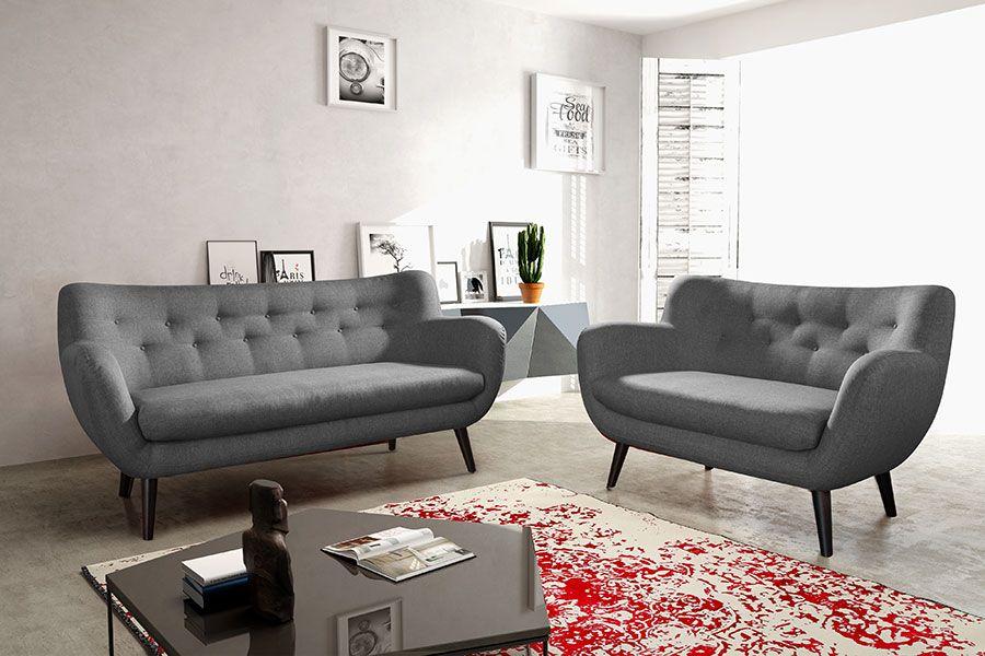 Ensemble Canapé Fixe Places Gris Foncé En Tissu Style Scandinave - Ensemble canapé 2 et 3 places