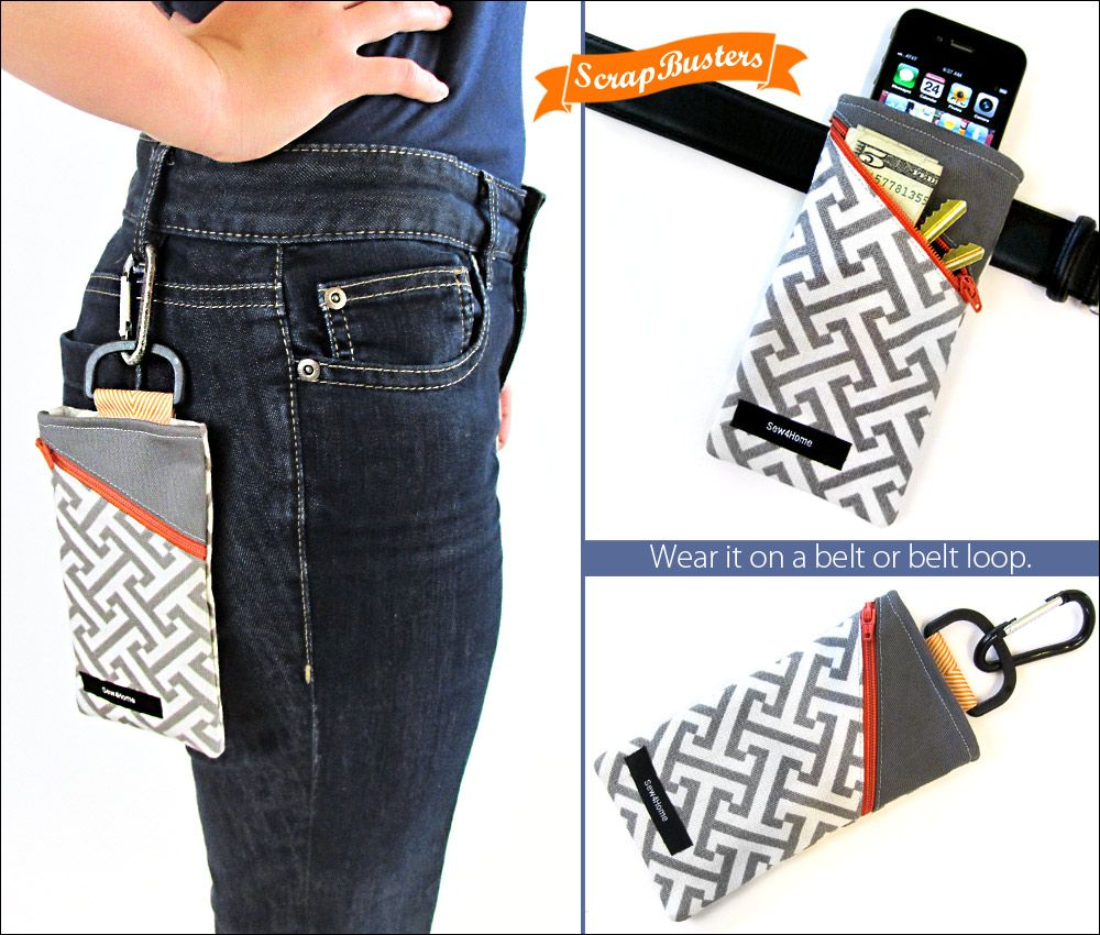 Handy Slip-on or Clip-on Belt Pouch | Sew4Home | Sew | Pinterest ...