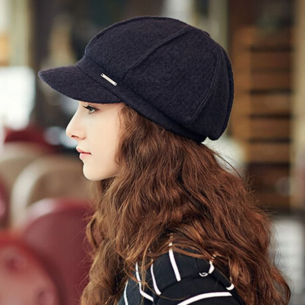 a0a1c52c1af Fashion plain newsboy cap for women warm wool winter hats