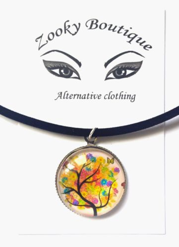 #Butterfly rainbow tree of life black velvet #choker pendant necklace #jewelry,  View more on the LINK: http://www.zeppy.io/product/gb/2/232067733739/