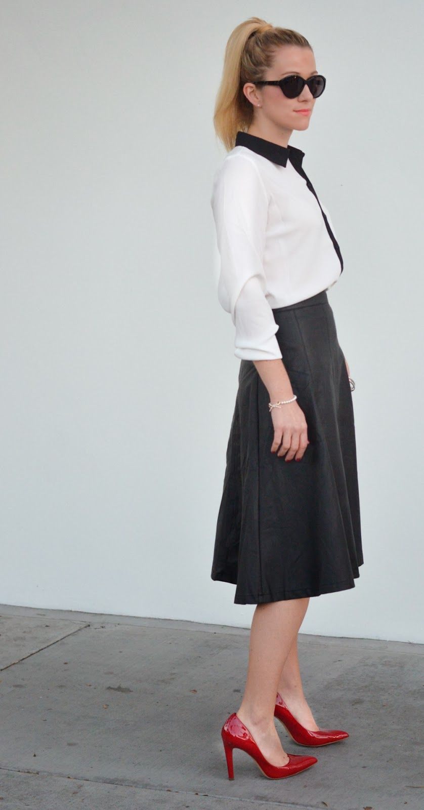 Faux Leather Midi Skirt + Heels | Luci's Morsels