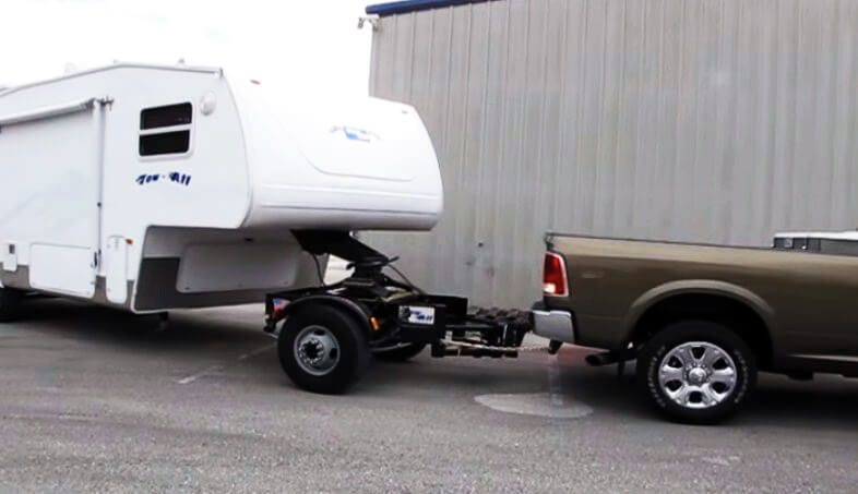 Tow all dolly system for hauling 5th wheel and