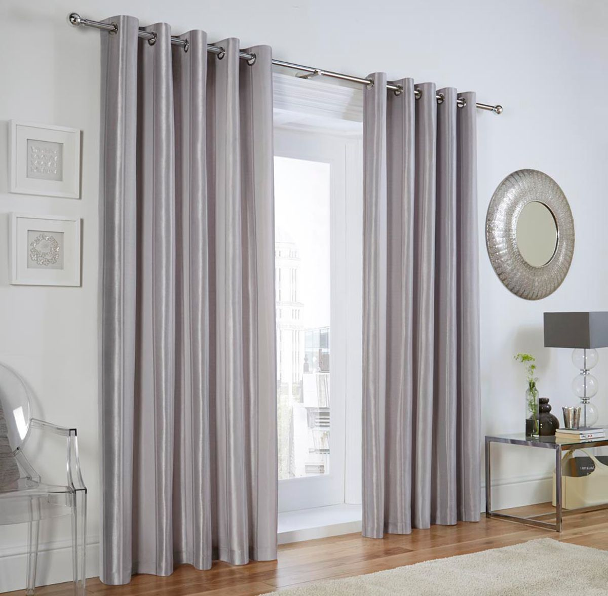 Linwood Eyelet Curtains In Silver Curtains Silver Grey Curtains Striped Curtains