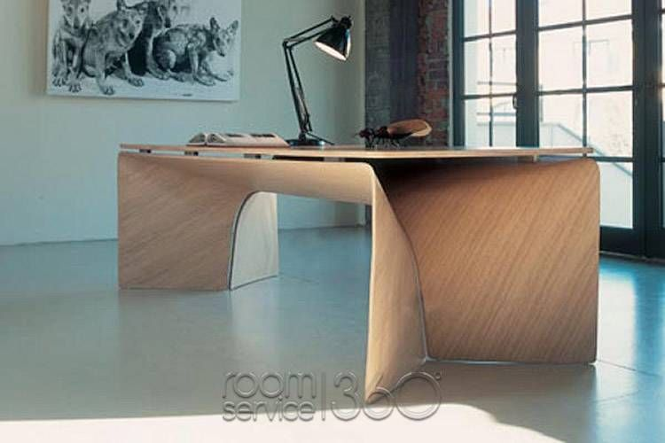 Big Bend Modern Office Desk In Light Oak With Wood Top By Baleri