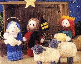 Amigurumi Nativity Free Download : Knit nativity mary joseph wisemen sheep instant download knitting