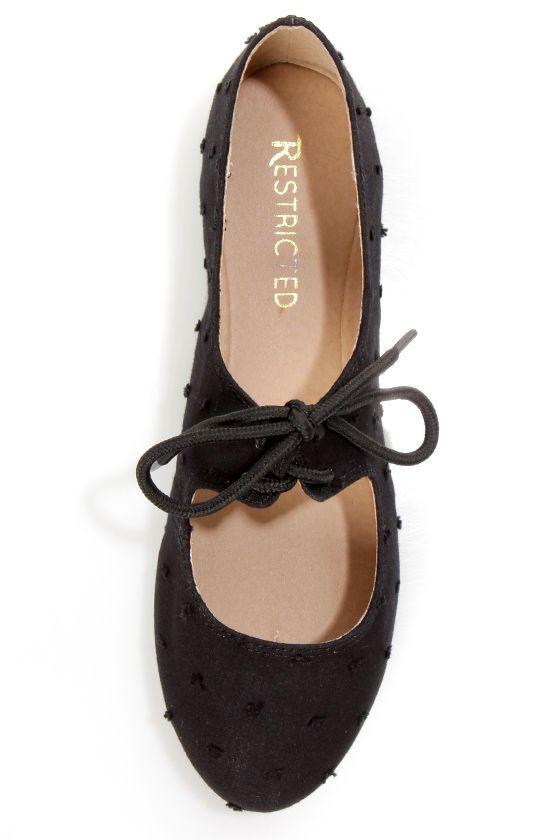 b3f4da611 Restricted Scrabble Black Swiss Dot Lace-Up Ballet Flats | My Style ...
