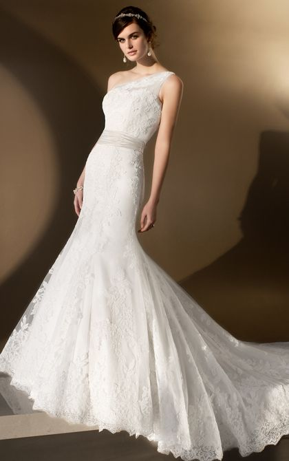 One Shoulder Fit and Flare Wedding Dress