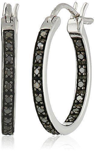 Idée Et Inspiration Bijoux Image Description Sterling Silver Black Diamond Inside Out Hoop Earrings