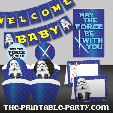 Great Printable Star Wars Baby Shower Decor | The Printable Party   Customizable,  Printable Party Decorations And Invitations