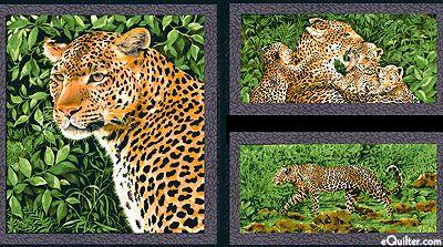 """Leopards - Leopard Life Frames - Leaf Green - 24"""" x 44"""" PANEL"""