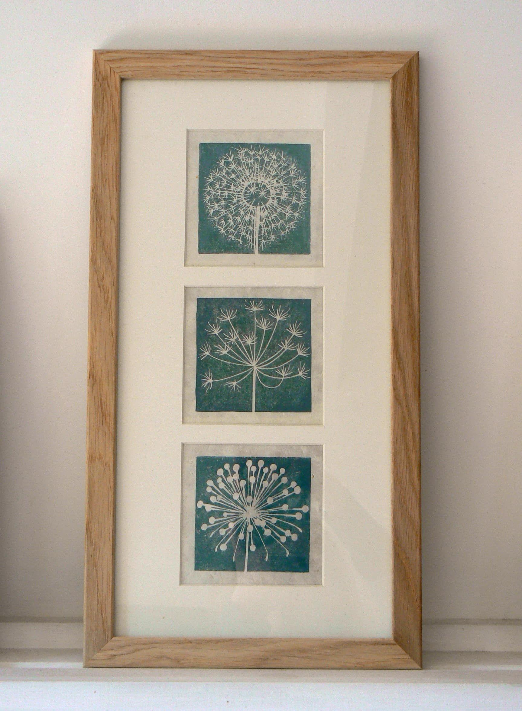 Dandelion Seedhead Mini Lino Print Linocut Prints Lino