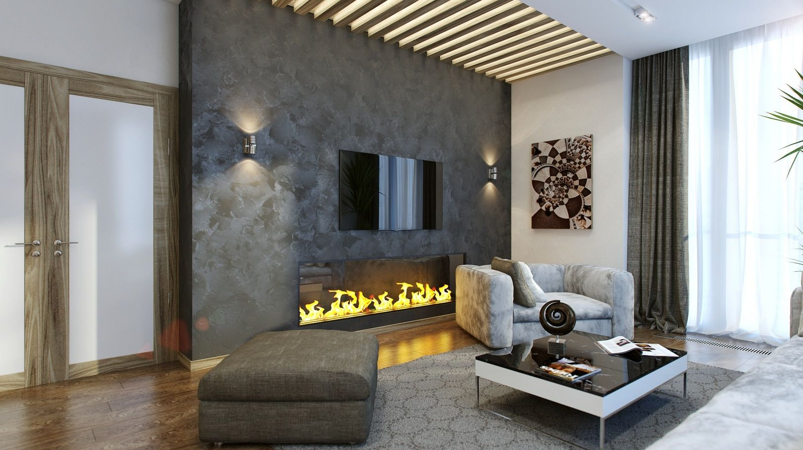 New fireplace with tv eclectic family room minneapolis - Decorate Living Room Design Interior Awesome Big Gray Wall Stone Built Fireplace Modern Neutral Colored Ideas