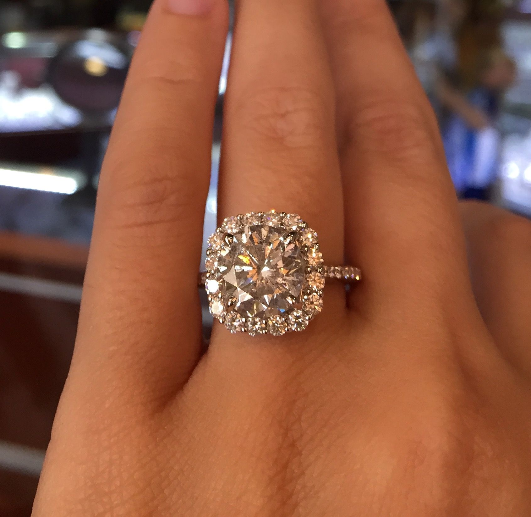 Top 10 Engagement Ring Designs Our Insta Fans Adore: 14k White Gold 3.84ct Diamond Halo Engagement Ring