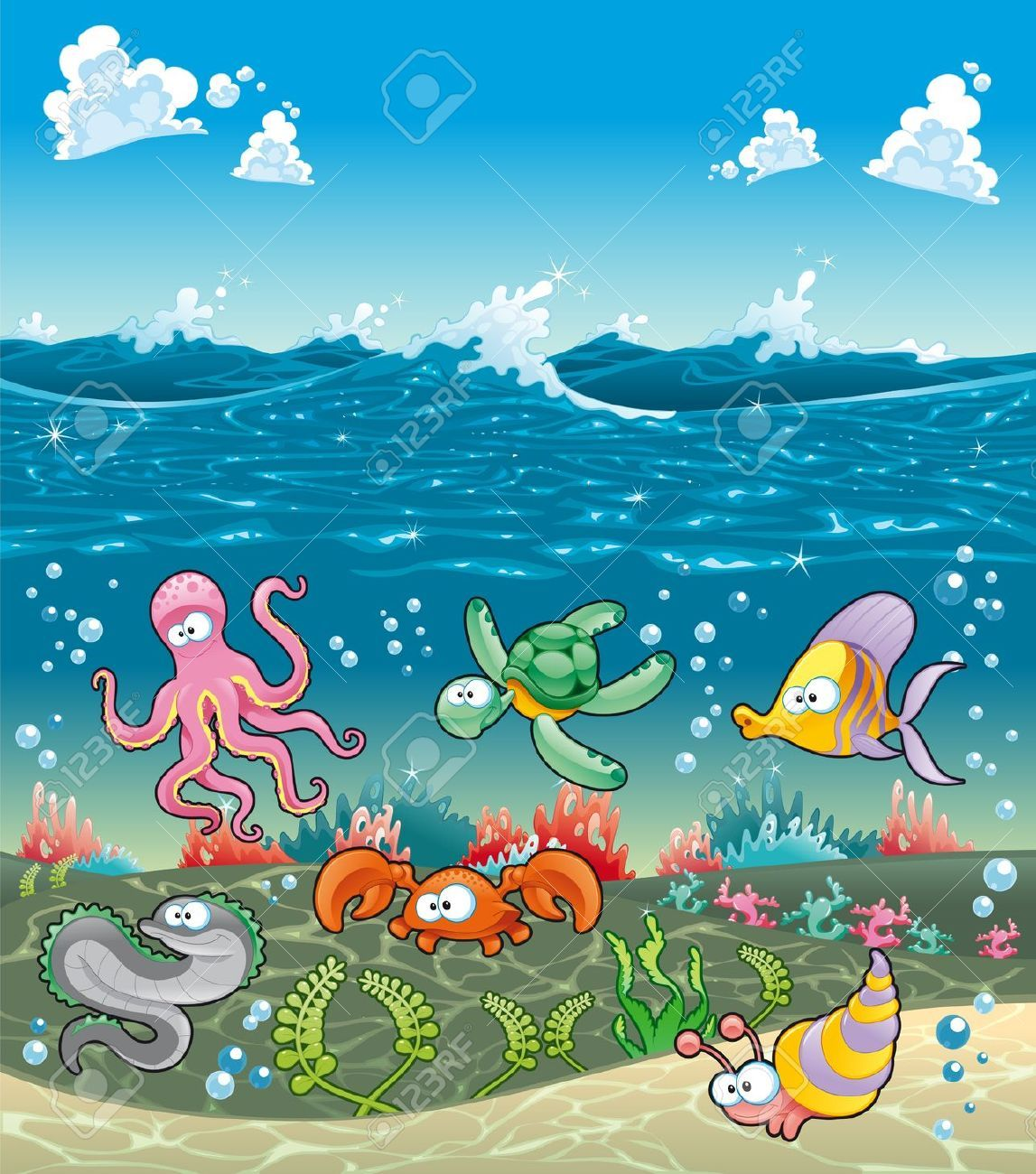 Under Sea Stock Vector Illustration And Royalty Free Under Sea Clipart