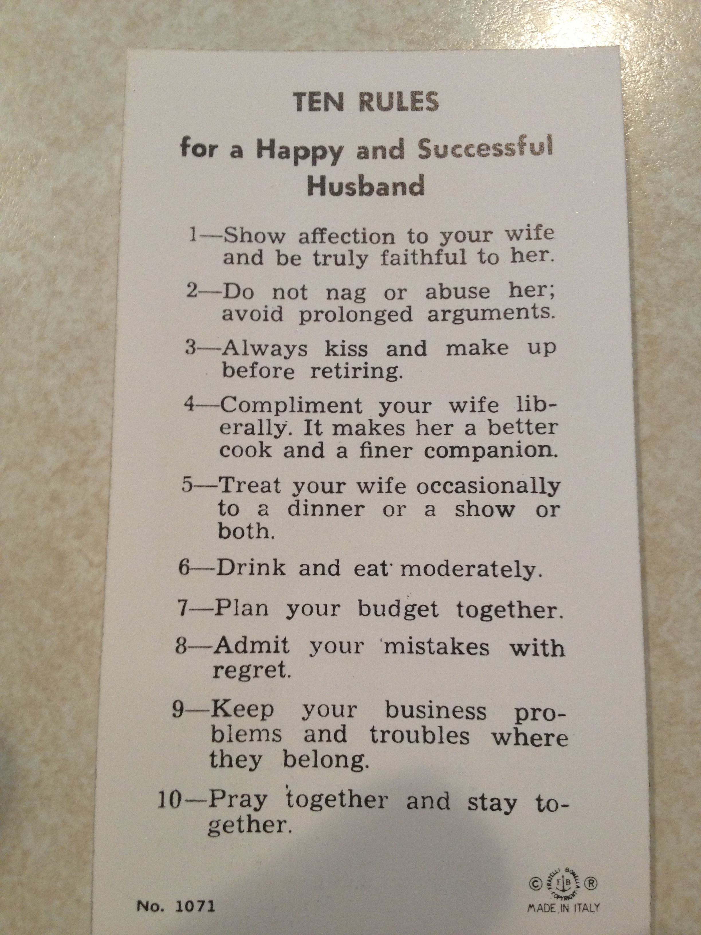 10 Rules For A Happy Husband Lol Are We In 1950 Ur Funny Didn T Know U Pinned It Happy Husband Fun Cooking Happy
