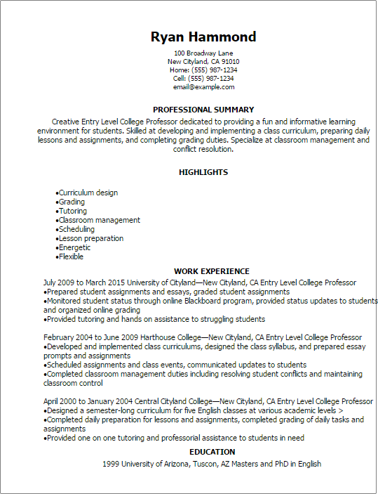 1 Entry Level College Professor Resume Templates Try Them Now