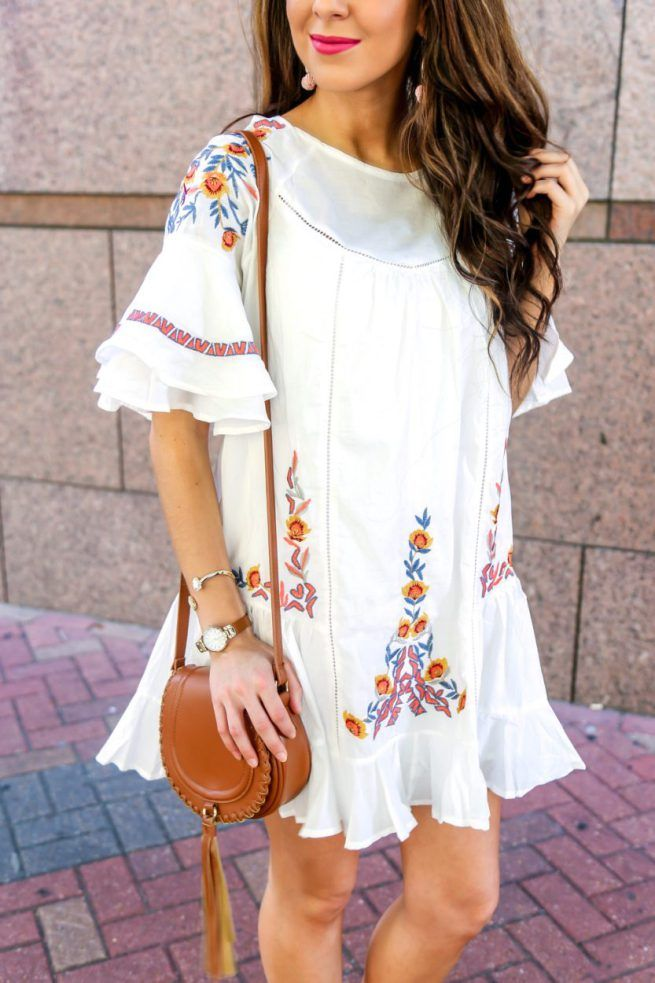 Beautiful Boho Floral Embroidered Dress - Southern