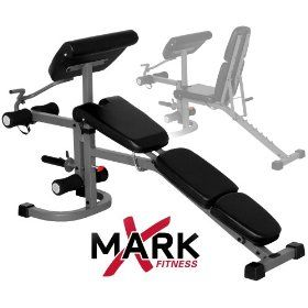 xmark fitness fid weight bench with arm curl and leg