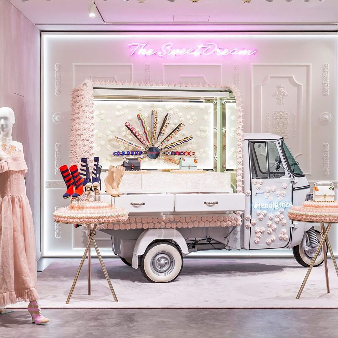"""FENDI, Ginza, Tokyo, Japan, """"Spring has arrived with The Sweet Dream window installations created in collaboration with artist Anke Eilergerhard feature pastel pastry sculptures"""", pinned by Ton van der Veer"""