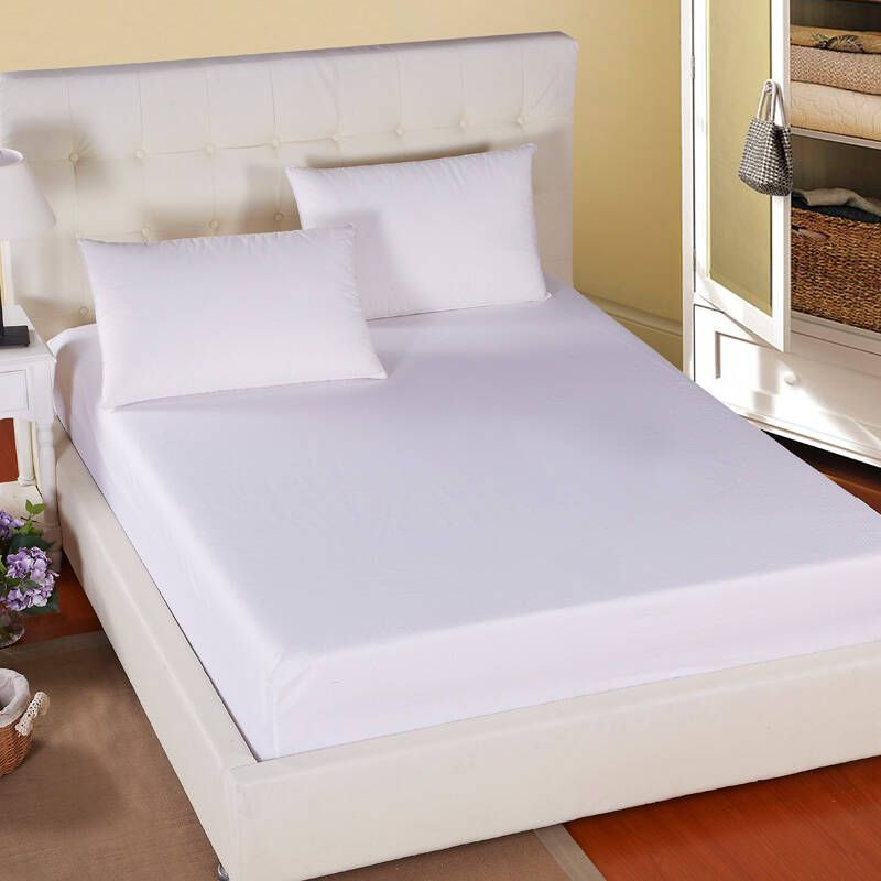 Hotel/Hospital White Waterproof Fitted Bed Sheet Hotel Bed Sheet Set