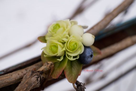 Brooch Roses stephanotis and berries Cold porcelain от SweetRose68